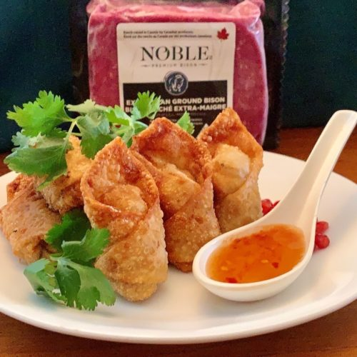Bison Wonton Kisses With Spiced Chinook Honey Dipping Sauce