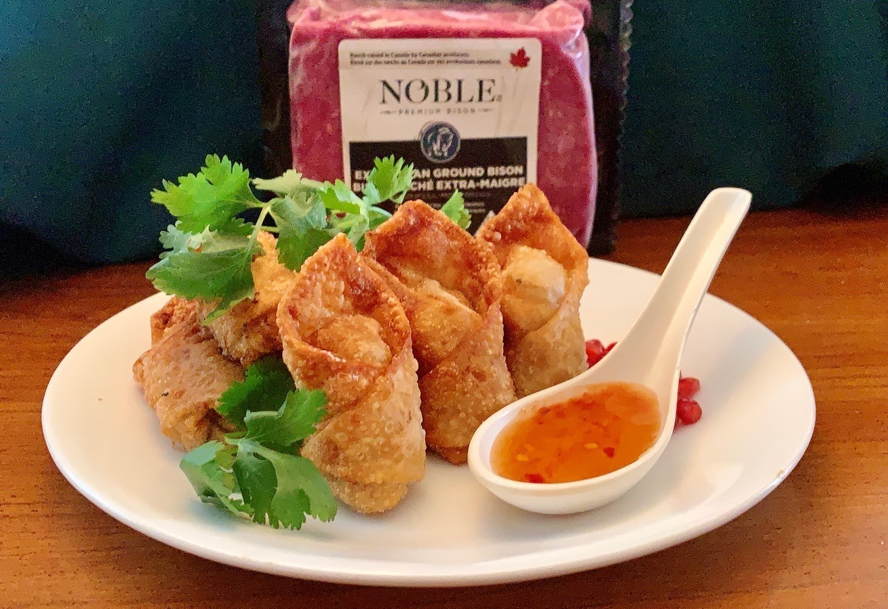 Bison Wonton Kisses With Spiced Chinook Honey Dipping Sauce article image