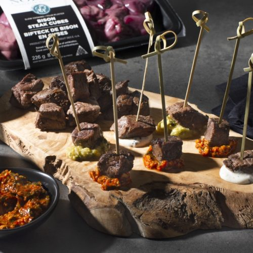 Bison Steak Cubes with 3 Dipping Sauces