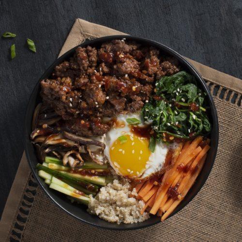 Bibimbap Bison Power Bowl with Quinoa