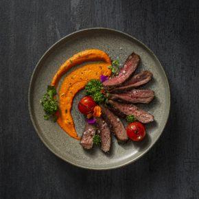 Filetto di bisonte con salsa romesco e immagine articolo Rapini