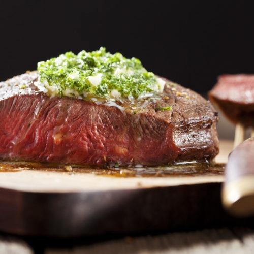 Bison Top Sirloin Steak with Garlic Butter